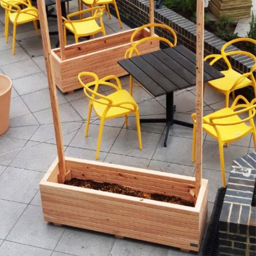 Wooden Larch Trough for Green Screens with posts